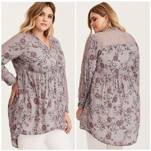Torrid Floral High Low Lace Gray Tunic Size 2X